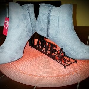 Gray Ankle Heel Boots